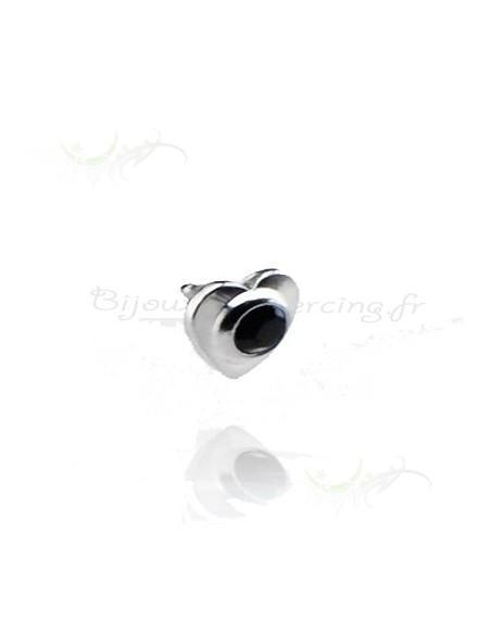 Coeur accessoires piercings acier et strass