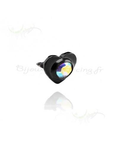 Accessoire coeur black steel strass