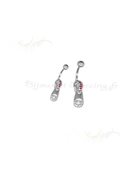 Piercing nombril Zip et strass