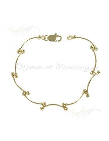 Bracelet plaqué or perles et torsade