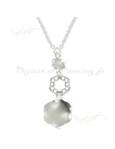 Collier argent fleurs et anneaux