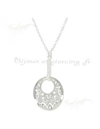 Collier médaille argent - bijoux argent