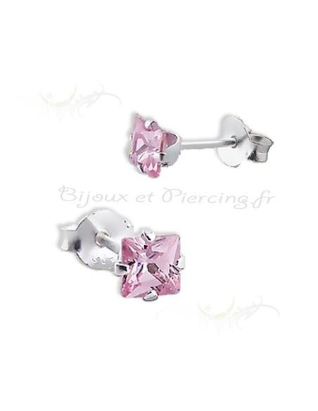 Boucles d'oreilles cristal carré