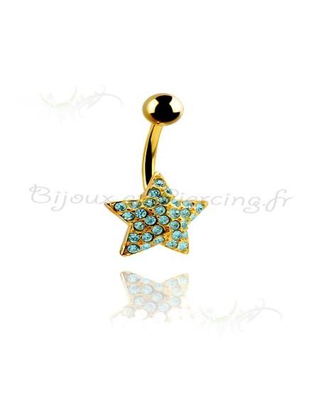 Piercing de nombril plaqué or étoile et strass