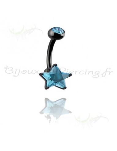 Piercing de nombril blacksteel étoilé