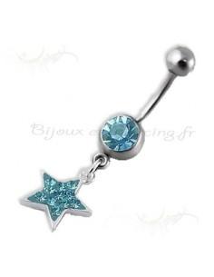 Body piercing nombril cristal pendentif étoile