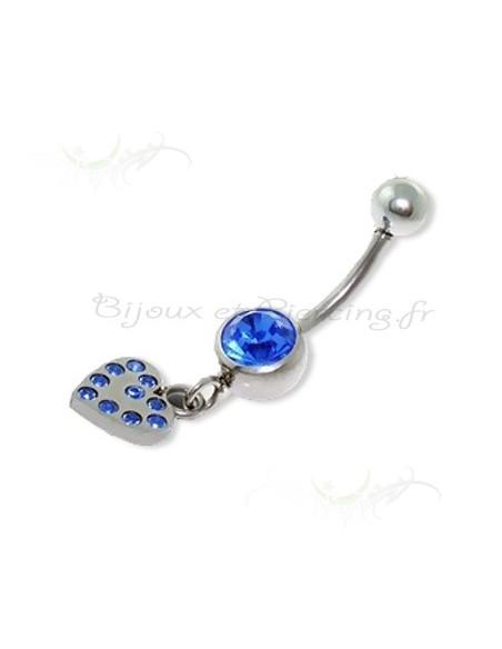 Pendentif nombril - piercing coeur cristal