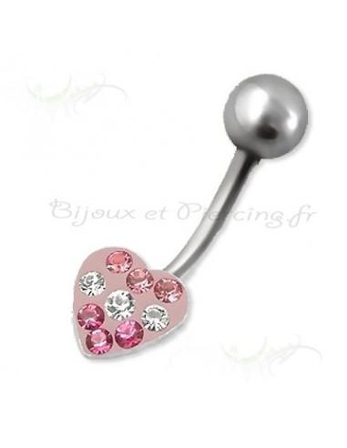 Piercing nombril coeur glamour