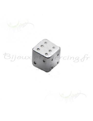 Accessoire piercing dé avec chiffre graver barre de 1.2 mm