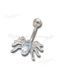 Piercing nombril araignée cristal de couleur