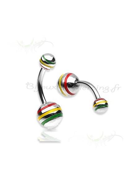 piercing nombril rasta jamaique a boule trois couleur