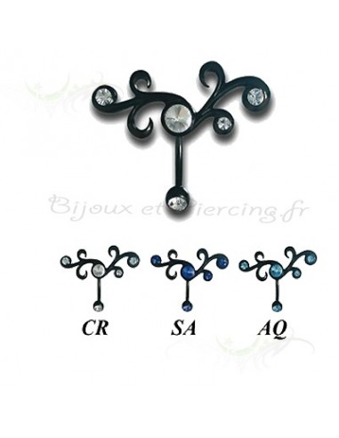 Piercing de nombril Black Steel et strass griffés