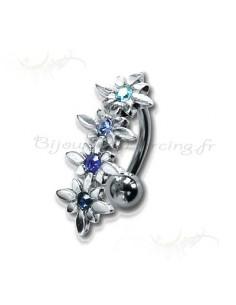 Piercing nombril strass articulé et barrette de fleurs