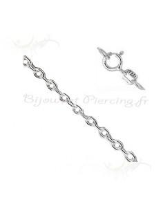 Bijoux argent chaine maille forcat de 37 cm