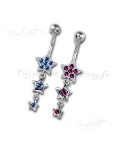 bijou Piercing etoile pour le nombril incrustée de brillant