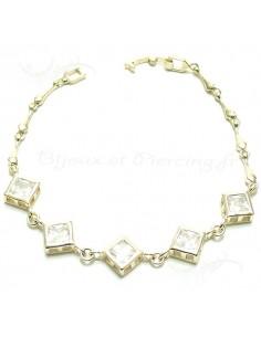 Bracelet plaqué argent carrés translucides
