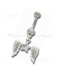 Piercing nombril ailes d'ange strass