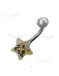 Piercing nombril star doré