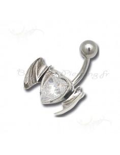 Coeur et ailes pour le nombril - piercing