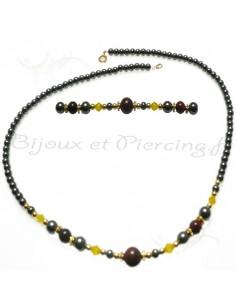 Collier de perle noir pour femme