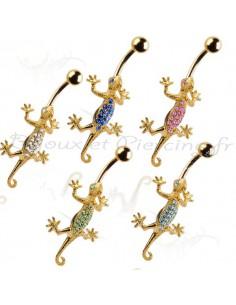Piercing nombril salamandre plaqué or