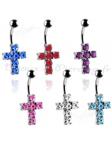 Piercing nombril croix chrétienne ornée de brillant