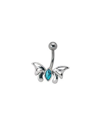 Piercing nombril papillon gothique serti d'une pierre- embout argent