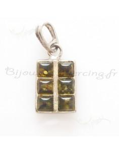 Pendentif rectangle incrusté de pierres ambrées