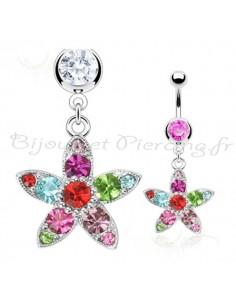 Piercing nombril à fleur et pierres multi-colores