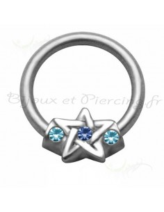 Piercing anneau étoile scintillante