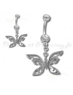 Piercing nombril papillon metallique