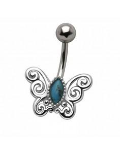Piercing nombril papillon vintage et turquoise