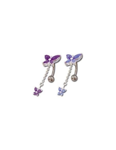 piercing pendentif avec chainette et papillon en argent
