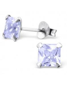 Bijou oreilles argent diamant carré