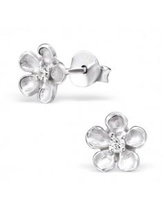 Boucles d'oreilles fleurs d'argent