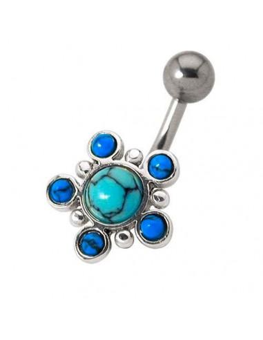 piercing nombril pierre turquoise argent 925