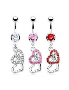Piercing nombril coeurs double pendants