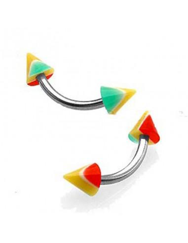 piercing arcade a pointe de couleur rasta