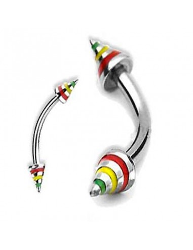 piercing arcade rasta avec pointe coloré
