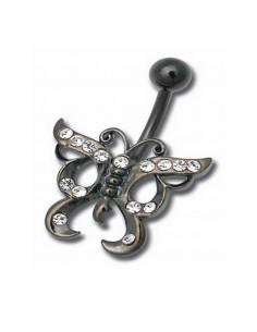 Piercing de nombril acier et zirconia de couleur papillon