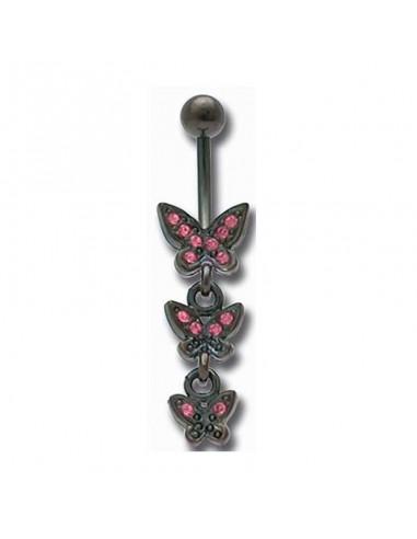 Piercing pendentif papillons acier noir