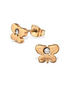 Boucles oreille papillon acier rose