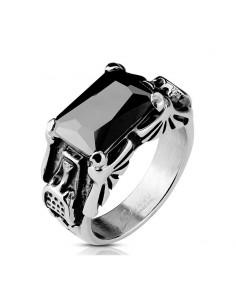 Bague acier avec zircon noir rectangulaire