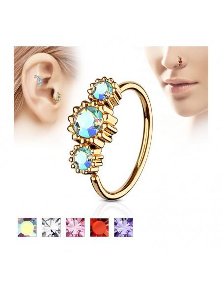 Piercing anneau coupé trois zircons