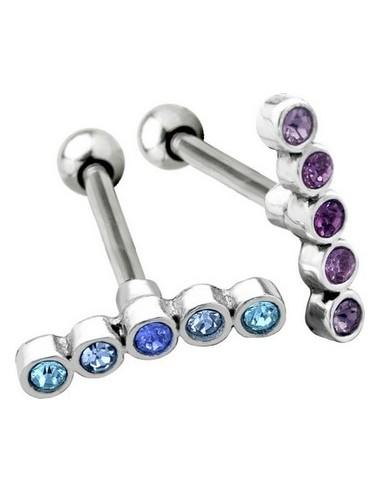 Piercing cartilage 5 gemmes couleur