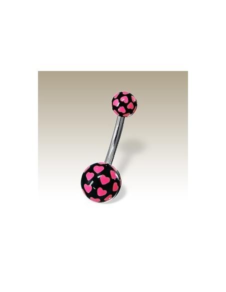 Piercing ball nombril petit coeur fluo