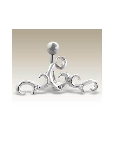 Piercing celtique nombril acier et zircon