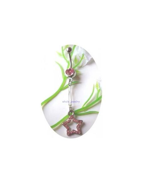 Piercing nombril acier pendentif avec étoile virevoltante