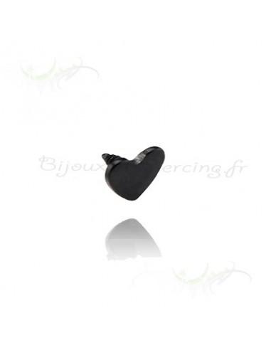 Coeur black steel - accessoires piercings tige 1.2 mm