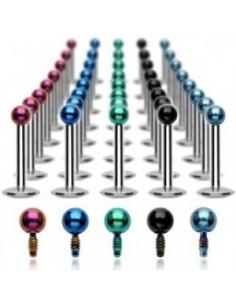 Piercing Labret Anodisé Multicolore Boule acier chirugical